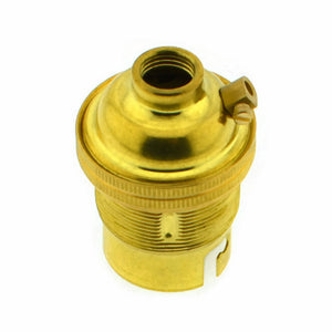 Brass 10mm Threaded Entry B22 Lamp/Light Bulb Holder with Shade Ring