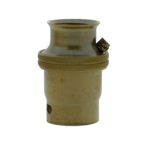 Old English Brass 20mm Threaded Entry B22 Lamp/Light Bulb Holder for Galvanised Conduit