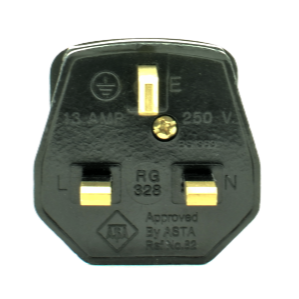 13A UK Plug with 3A Fuse - Black