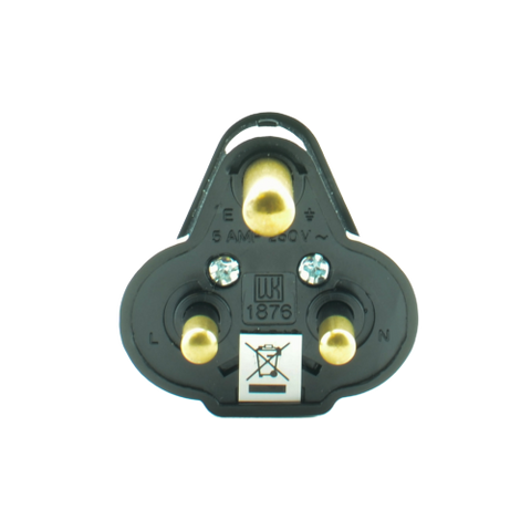 5A Round Pin Mains Plug - Black