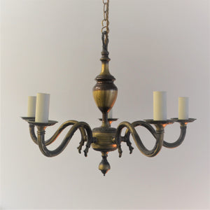 5 Arm Brass Chandelier (2 available)