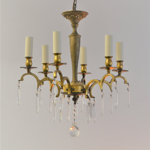 6 Arm Brass Chandelier With Drops