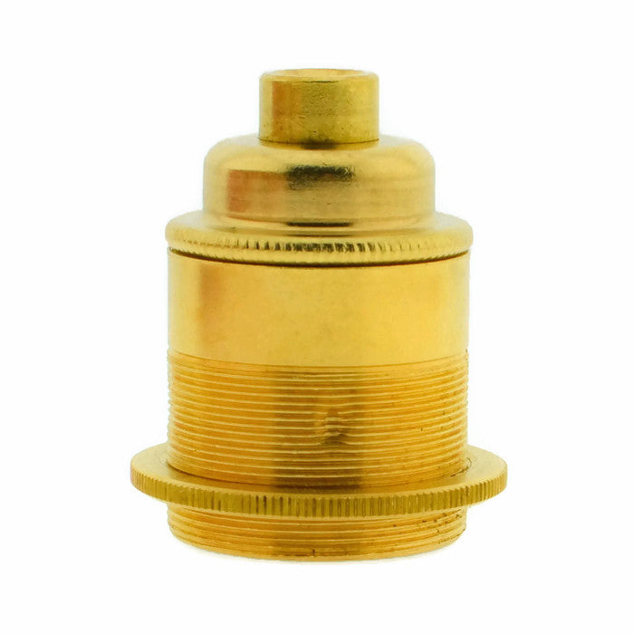 Brass 10mm Threaded Entry E27 Lamp/Light Bulb Holder with Shade Ring
