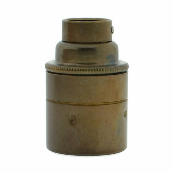 Old English Brass 20mm Threaded Entry E27 Lamp/Light Bulb Holder for Galvanised Conduit