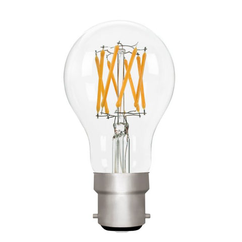 Zico LED Filament Lamp, B22, 6W, 2700K, A60 GLS, Clear, Dimmable