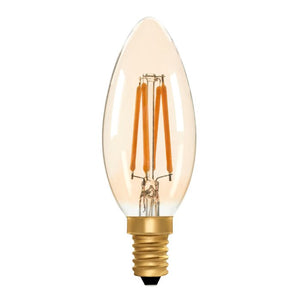 Zico LED Filament Lamp, E14, 4W, 2200K, C35 Candle, Amber, Dimmable