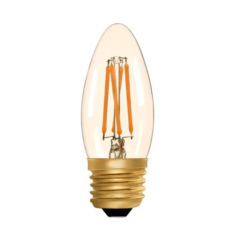 Zico LED Filament Lamp, E27, 4W, 2200K, C35 Candle, Amber, Dimmable