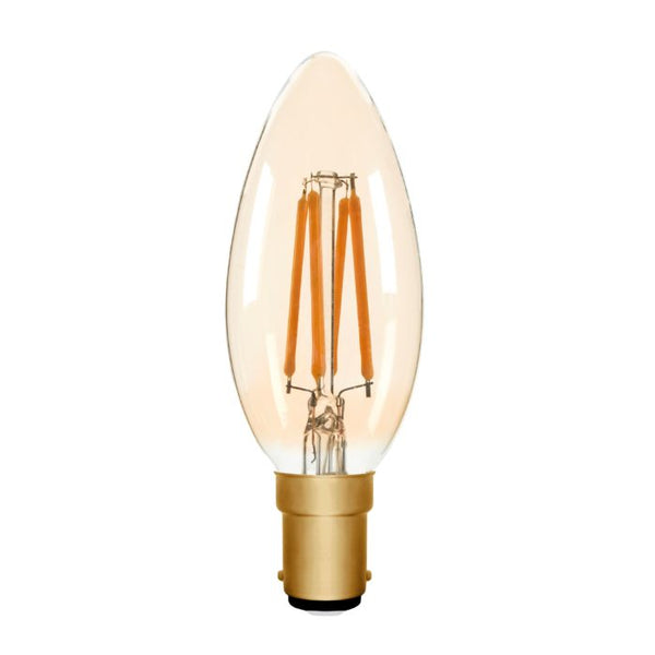 Zico LED Filament Lamp, B15, 4W, 2200K, C35 Candle, Amber, Dimmable