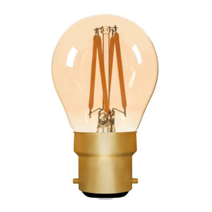 Zico LED Filament Lamp, B22, 4W, 2200K, G45 Golfball, Amber, Dimmable