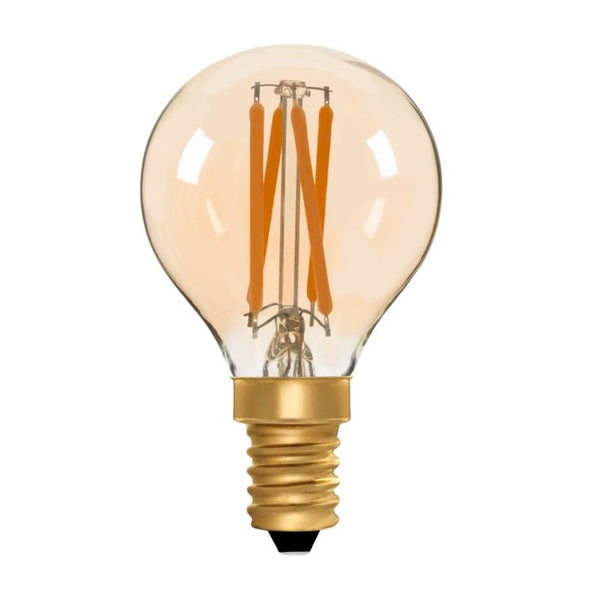 Zico LED Filament Lamp, E14, 4W, 2200K, G45 Golfball, Amber, Dimmable