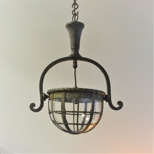 Bronze and Glass Bowl Pendant Light