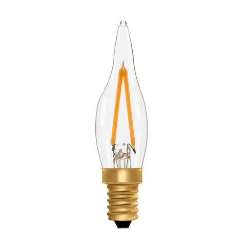 Zico LED Filament Lamp, E14, 2W, 2700K, C22 French Candle, Clear, Dimmable