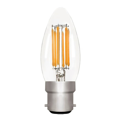 Zico LED Filament Lamp, B22, 6W, 2700K, C35 Candle, Clear, Dimmable