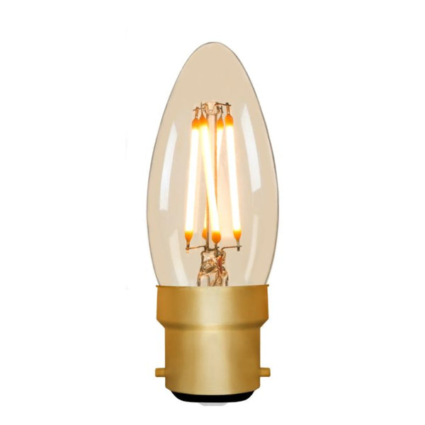 Zico LED Filament Lamp, B22, 4W, 2200K, C35 Candle, Amber, Dimmable
