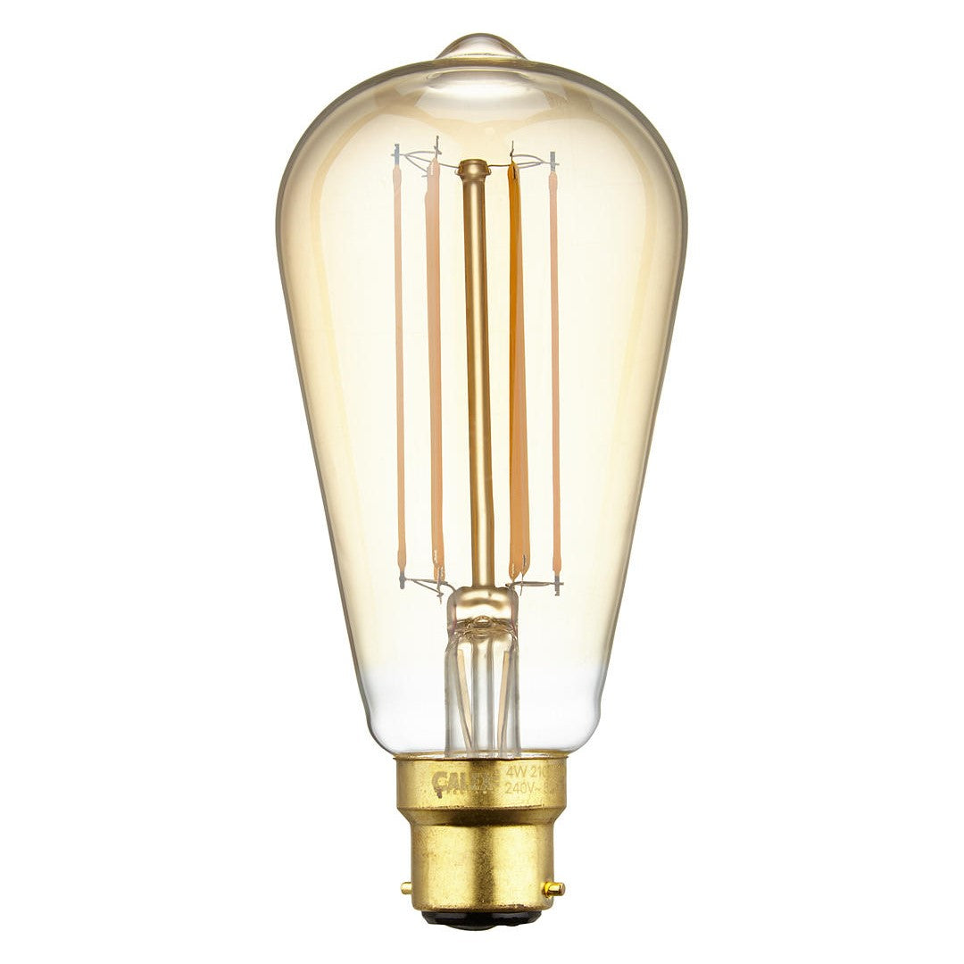 Calex LED Filament Lamp, B22, 4W, 2100K, ST64 Squirrel Cage, Gold, Dimmable
