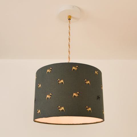 Pug Lampshade, plus Pendant and LED Filament Lamp