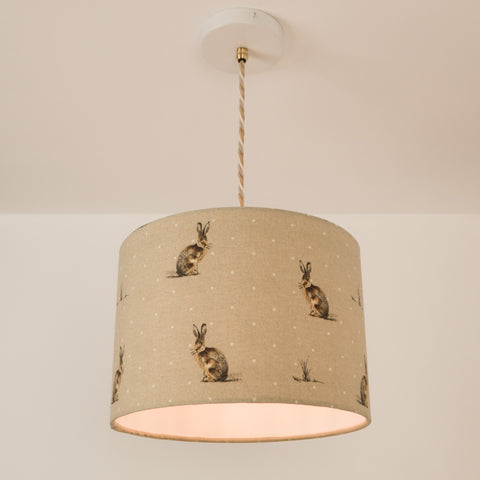 Hare Lampshade, plus Pendant and LED Filament Lamp