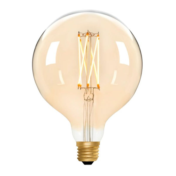 Zico LED Filament Lamp, E27, 6W, 2200K, G125 Globe, Amber, Dimmable