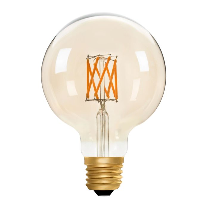 Zico LED Filament Lamp, E27, 6W, 2200K, G95 Globe, Amber, Dimmable