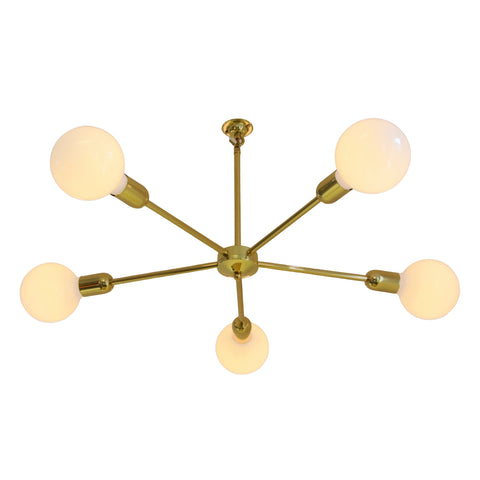 Brass 5 Arm Chandelier, plus LED Filament Lamps