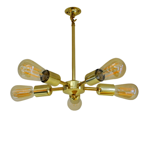 Brass 5 Arm Mini Chandelier, plus LED Filament Lamps