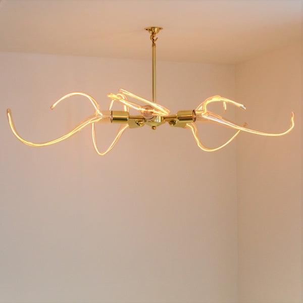 Brass Chandelier with Antler LED Filament Lamps