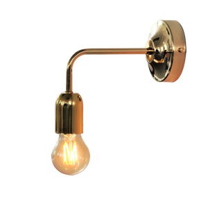 Brass Wall Light with Curved Arm, plus LED Filament Lamp
