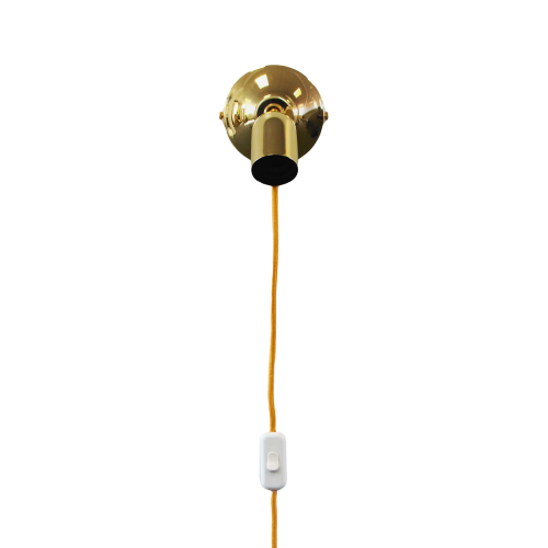 Brass Wall Light with Knuckle Joint and Cable, plus LED Filament Lamp