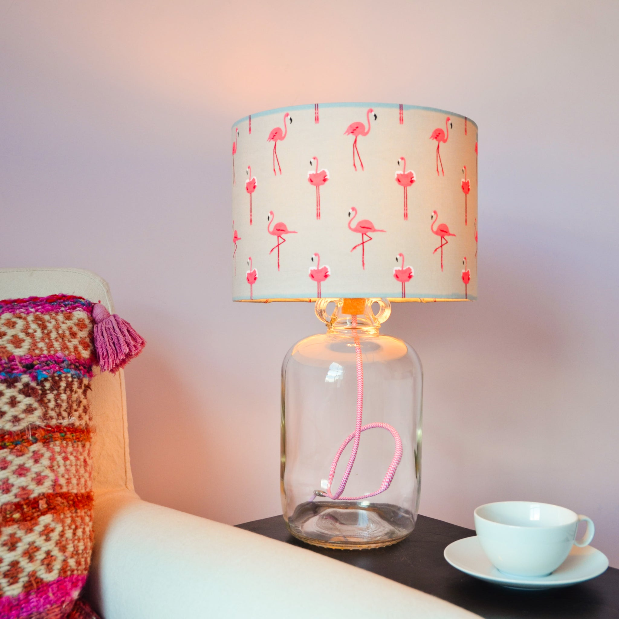 Demijohn Light with Pink and White Fabric Cable, plus LED Filament Lamp