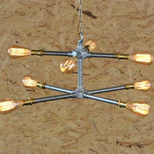 Industrial Double Cross Chandelier, plus LED Filament Lamps