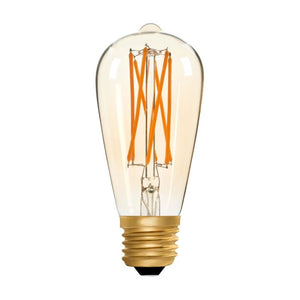 Zico LED Filament Lamp, E27, 6W, 2200K, ST64 Squirrel Cage, Amber, Dimmable