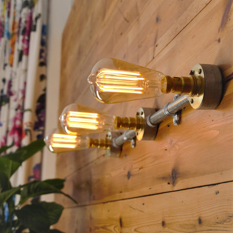 Industrial 3-Way Wall or Ceiling Bar, plus LED Filament Lamps