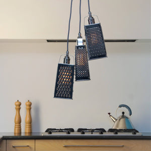 Cheese Grater Chandelier, plus LED Filament Lamps