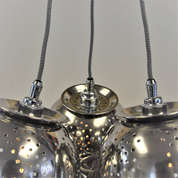 Colander Chandelier, plus LED Filament Lamps