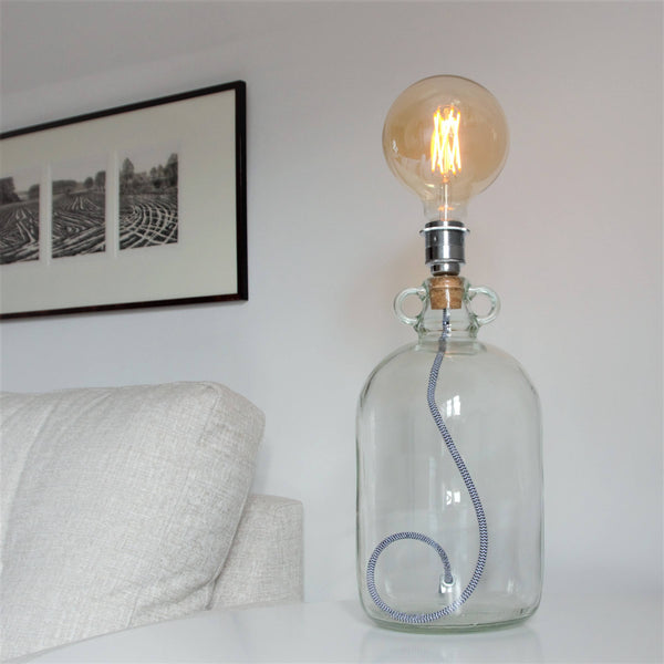 Demijohn Light with Black and White Fabric Cable, plus LED Filament Lamp
