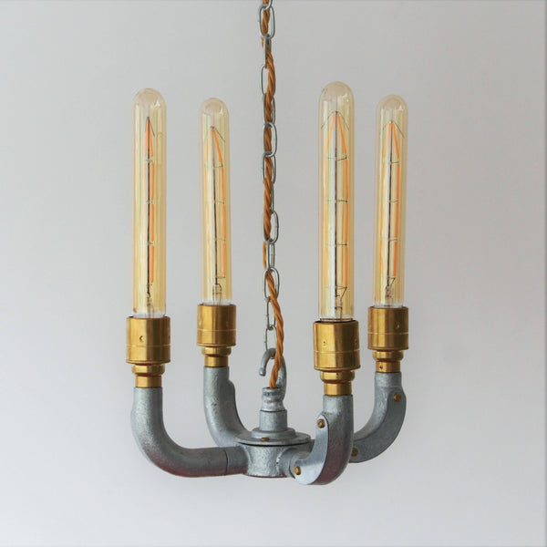 Industrial Curved Chandelier, plus LED Filament Lamps