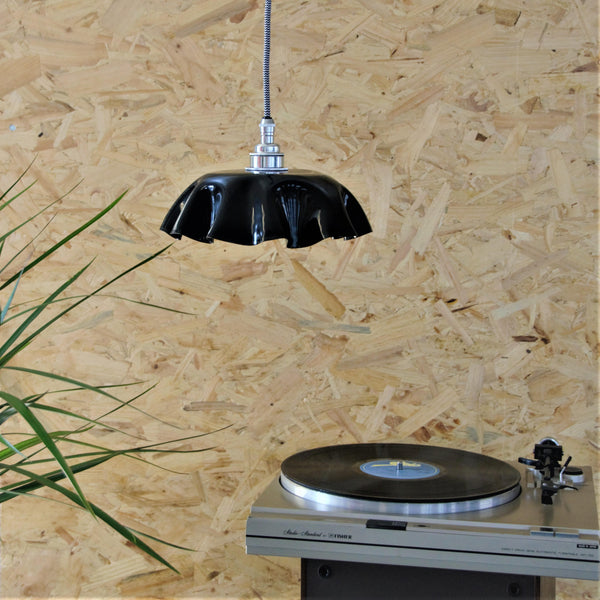 Vinyl Record Rippled Lampshade, plus Pendant and LED Filament Lamp