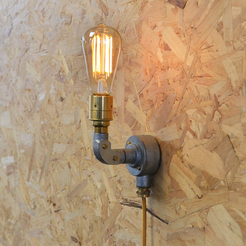 Industrial Wall Light with Cable, plus LED Filament Lamp