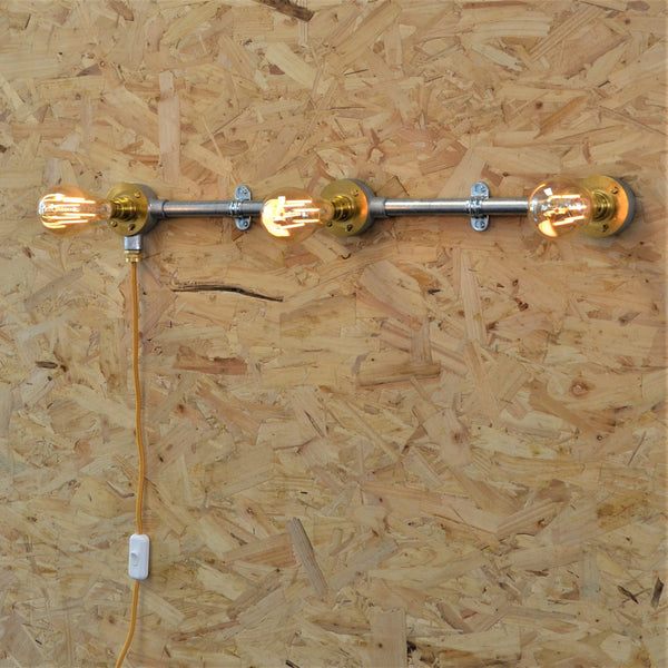 Industrial 3-Way Wall Bar with Cable, plus LED Filament Lamps
