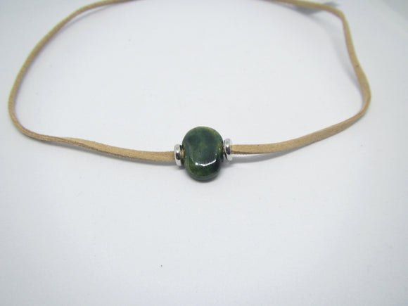 Green Bead Leather Necklace