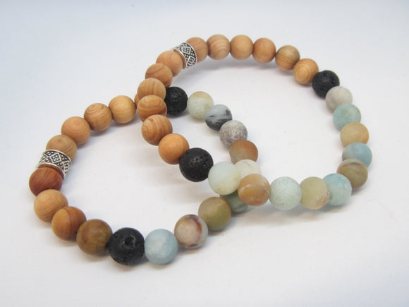 Mom & Me Blue & Wood Diffuser Bracelets