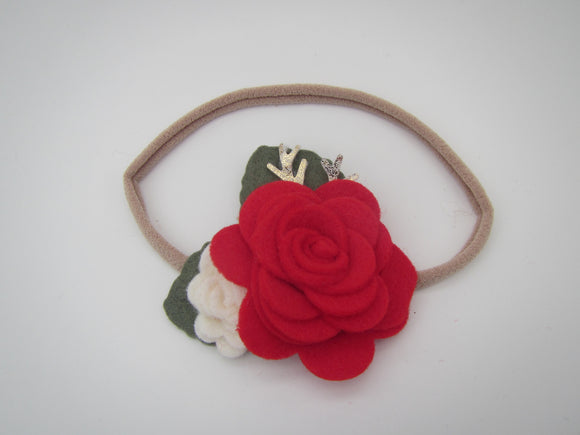Red & Cream Christmas Headband