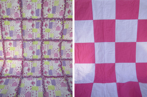 Rag Quilt - Pink Flowers