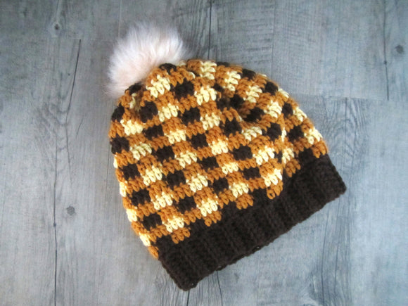 Yellow Plaid Croquet Toque