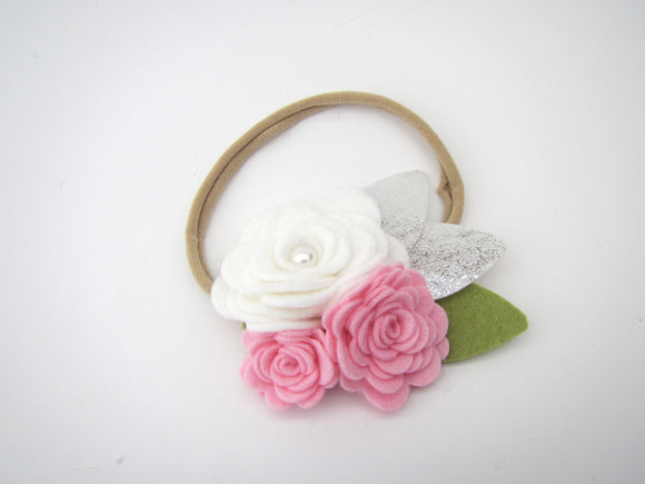 Pink & White Three Flower Head Band
