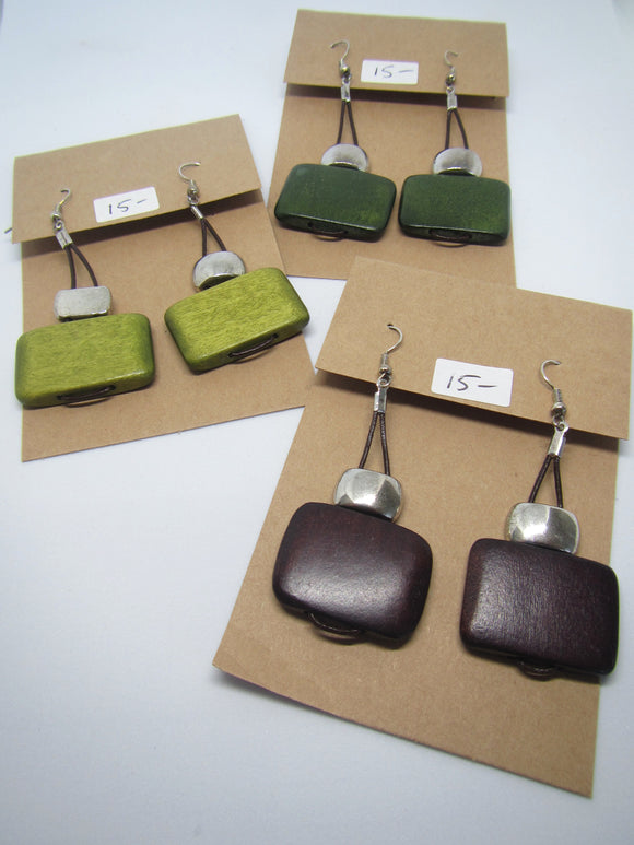 Rectangle Loop Leather Earrings