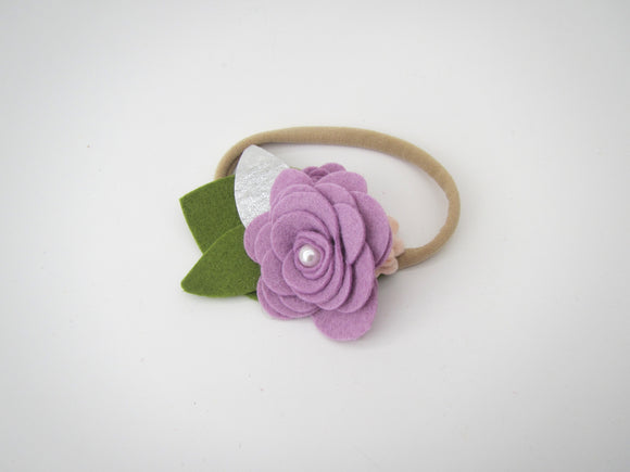 Purple & Peach Three Flower Headband