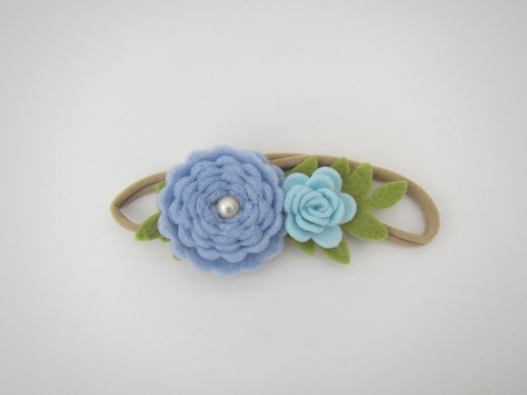 Two Flower Head Band With Pearl