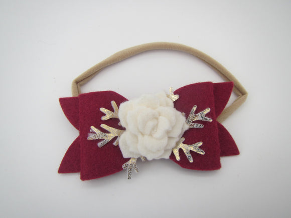 Burgundy Bow Winter Headband