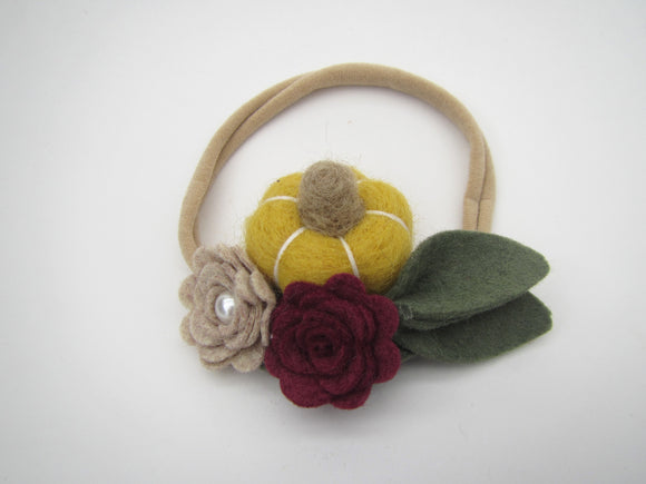 Pumpkin With Beige & Red Flowers Headband